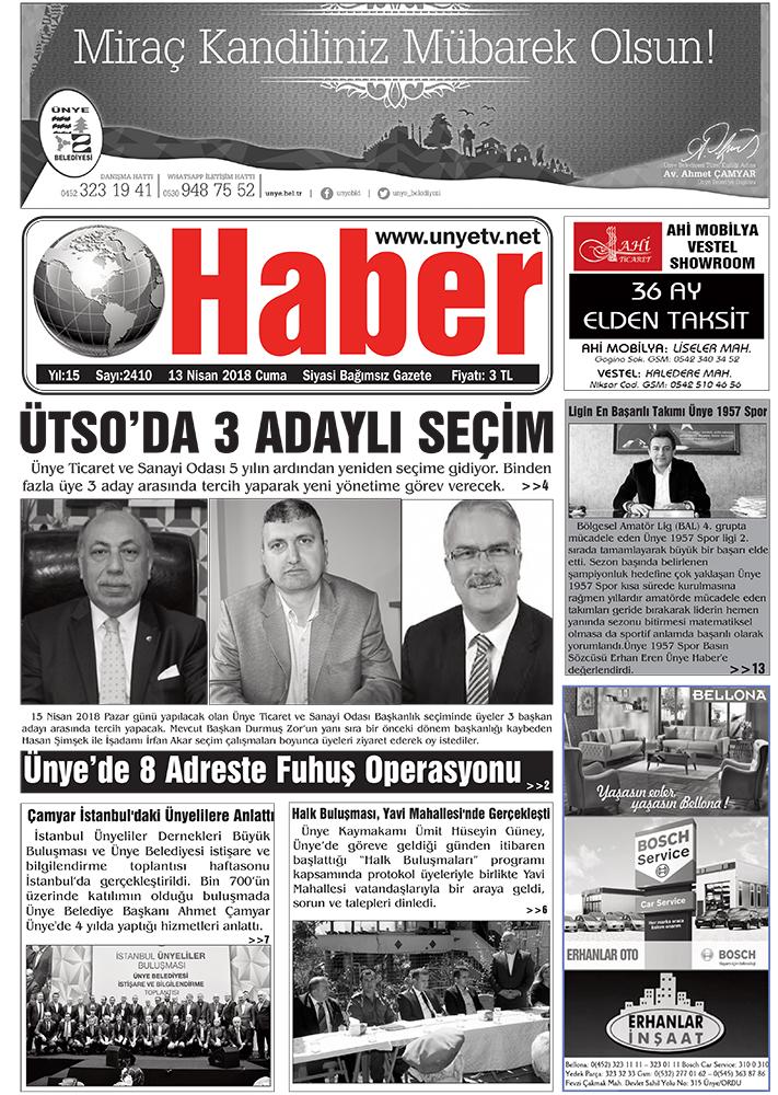 13 Nisan 2018 Ünye Haber Gazetesi 1. Sayfası
