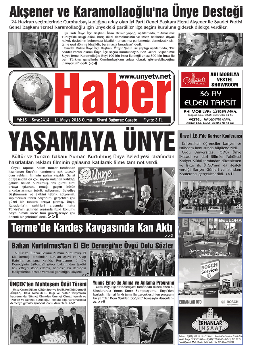 11.05.2018 Ünye Haber Gazetesi Birinci Sayfası