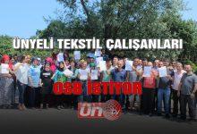Ünyeli Tekstil Çalışanları OSB İstiyor