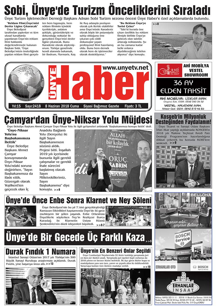 8 Haziran 2018 Ünye Haber Gazetesi 1. Sayfası