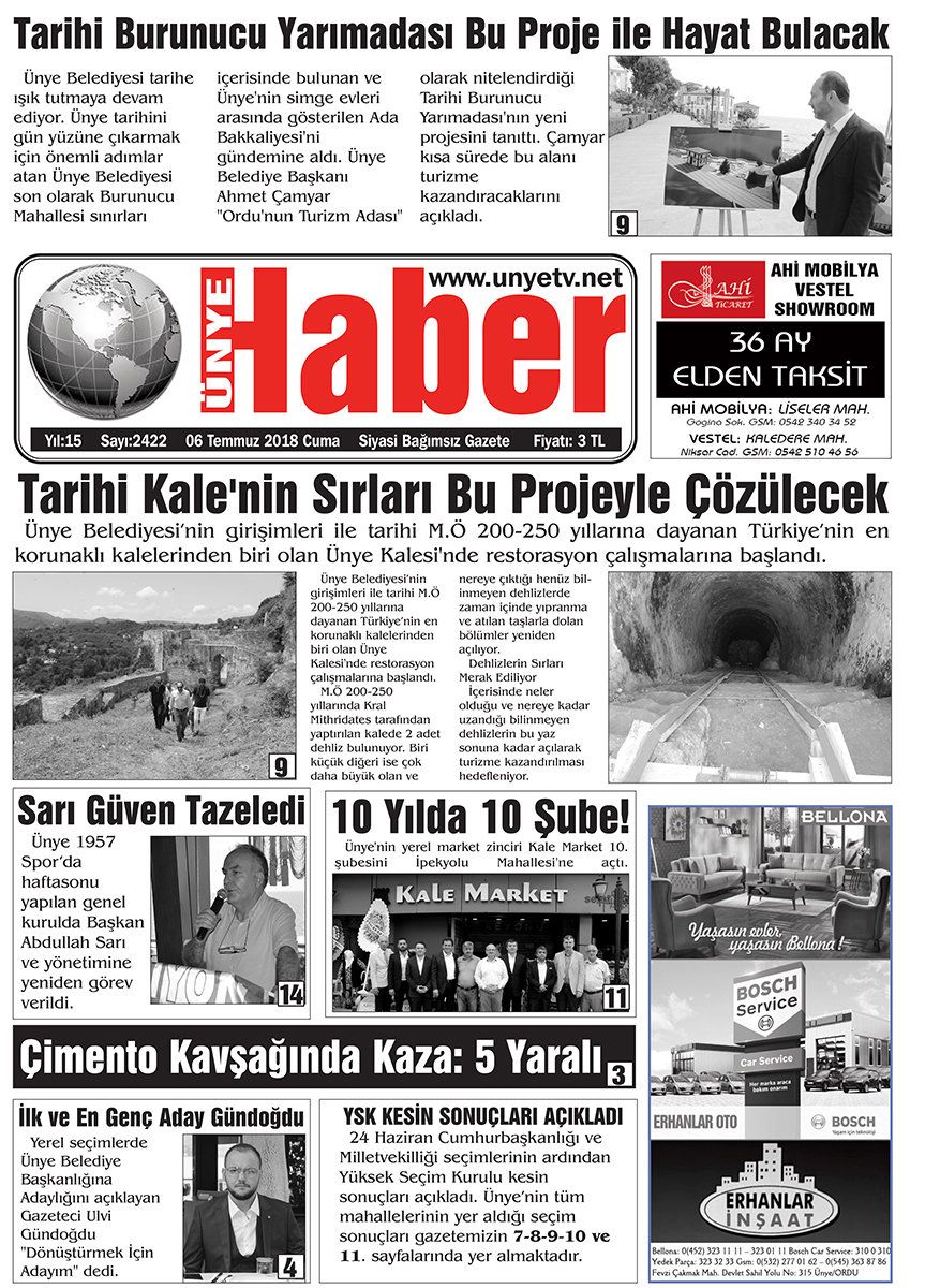 6 Temmuz 2018 Ünye Haber Gazetesi 1. Sayfası