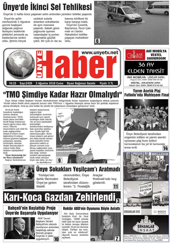 03.08.2018 Ünye Haber Gazetesi 1. Sayfası