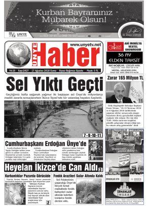 17.08.2018 Ünye Haber Gazetesi 1. Sayfası