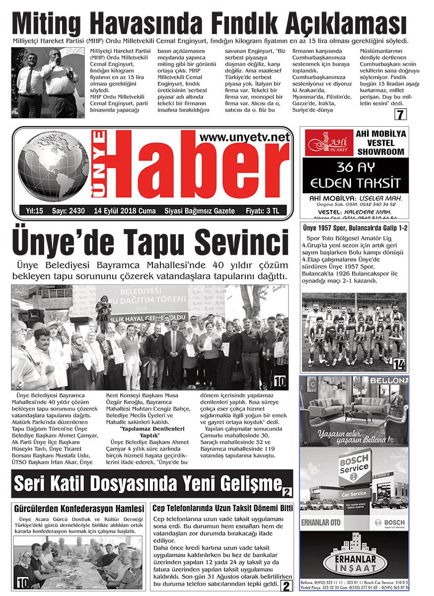 14.09.2018 Ünye Haber Gazetesi 1. Sayfası