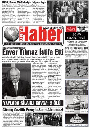 21.09.2018 Ünye Haber Gazetesi 1. Sayfası
