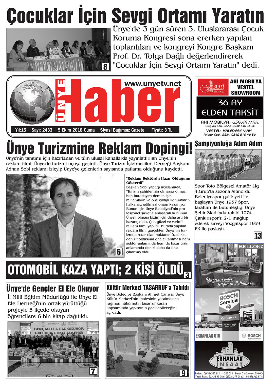 5 Ekim 2018 Ünye Haber Gazetesi 1. Sayfası