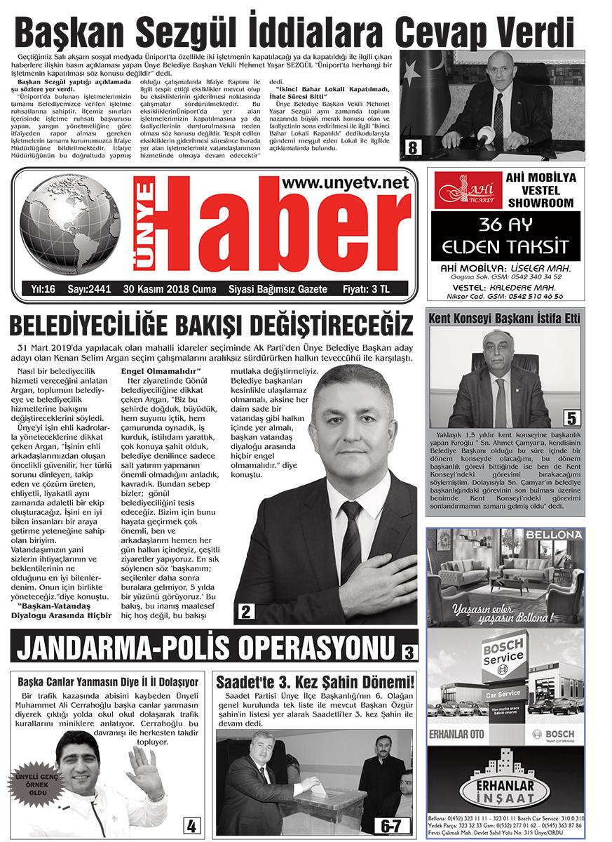 30 Kasım 2018 Ünye Haber Gazetesi 1. Sayfası