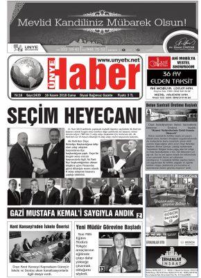 16.11.2018 Ünye Haber Gazetesi 1. Sayfası