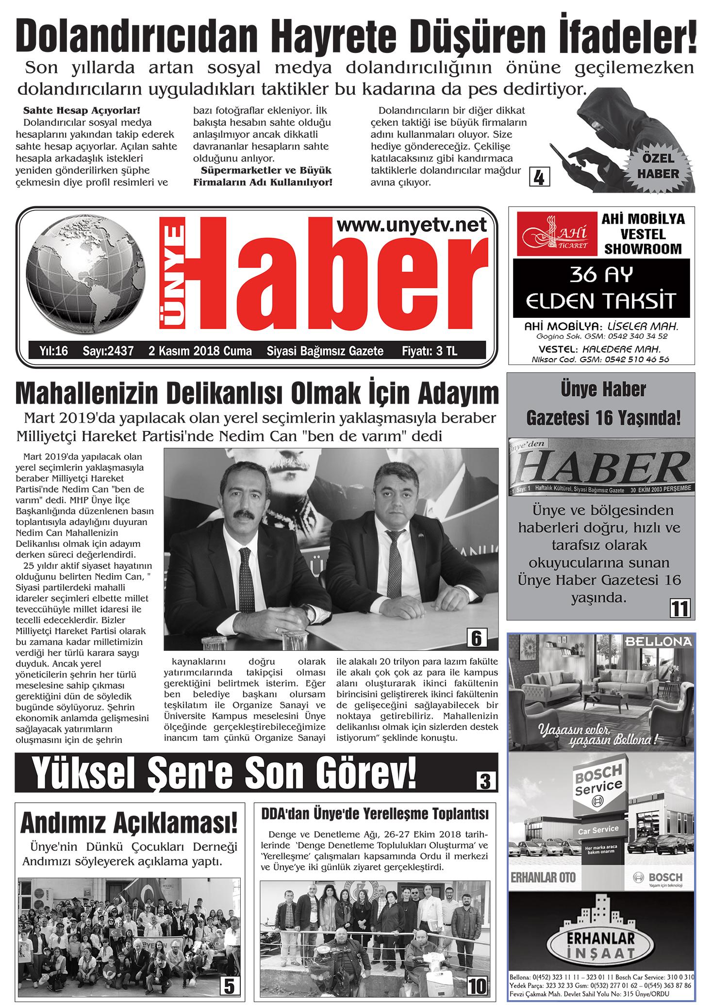 2 Kasım 2018 Ünye Haber Gazetesi 1. Sayfası