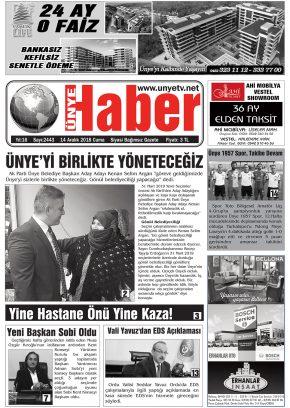 14.12.2018 Ünye Haber Gazetesi 1. Sayfası