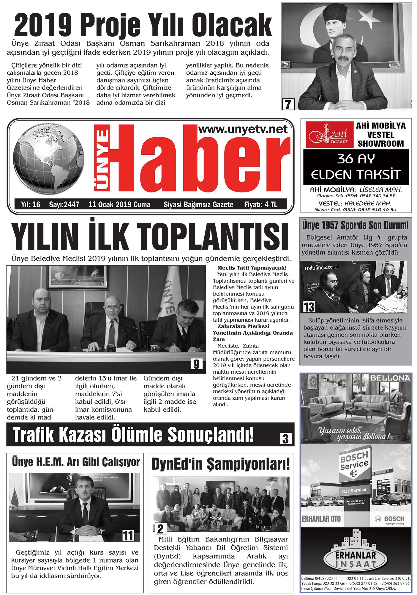 11 Ocak 2019 Ünye Haber Gazetesi 1. Sayfası