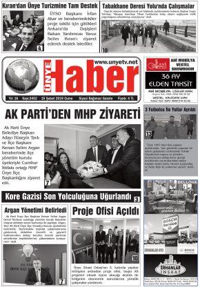 15.02.2019 Ünye Haber Gazetesi 1. Sayfası