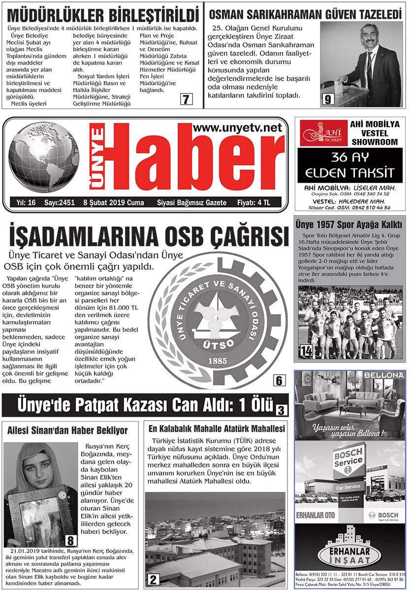 8 Şubat 2019 Ünye Haber Gazetesi 1. Sayfası