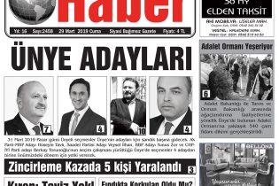 29.03.2019 Ünye Haber Gazetesi 1. Sayfası