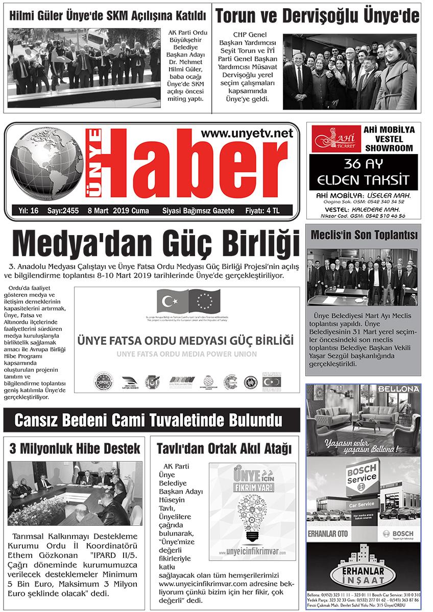 08.03.2019 Ünye Haber Gazetesi 1. Sayfası