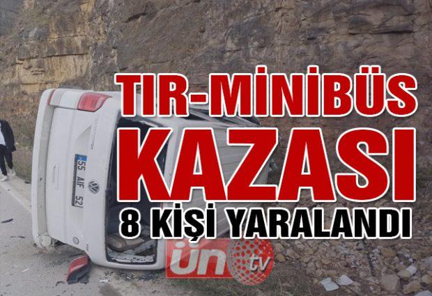 Tır Minibüs Kazası; 8 Yaralı