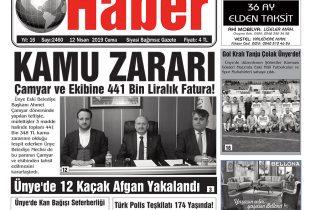 12.04.2019 Ünye Haber Gazetesi 1. Sayfası