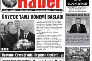 5 Nisan 2019 Ünye Haber Gazetesi 1. Sayfası