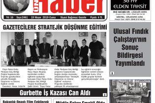 19 Nisan 2019 Ünye Haber Gazetesi 1. Sayfası