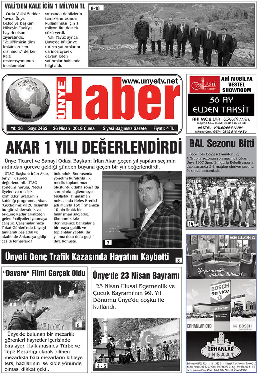 26.04.2019 Ünye Haber Gazetesi 1. Sayfası