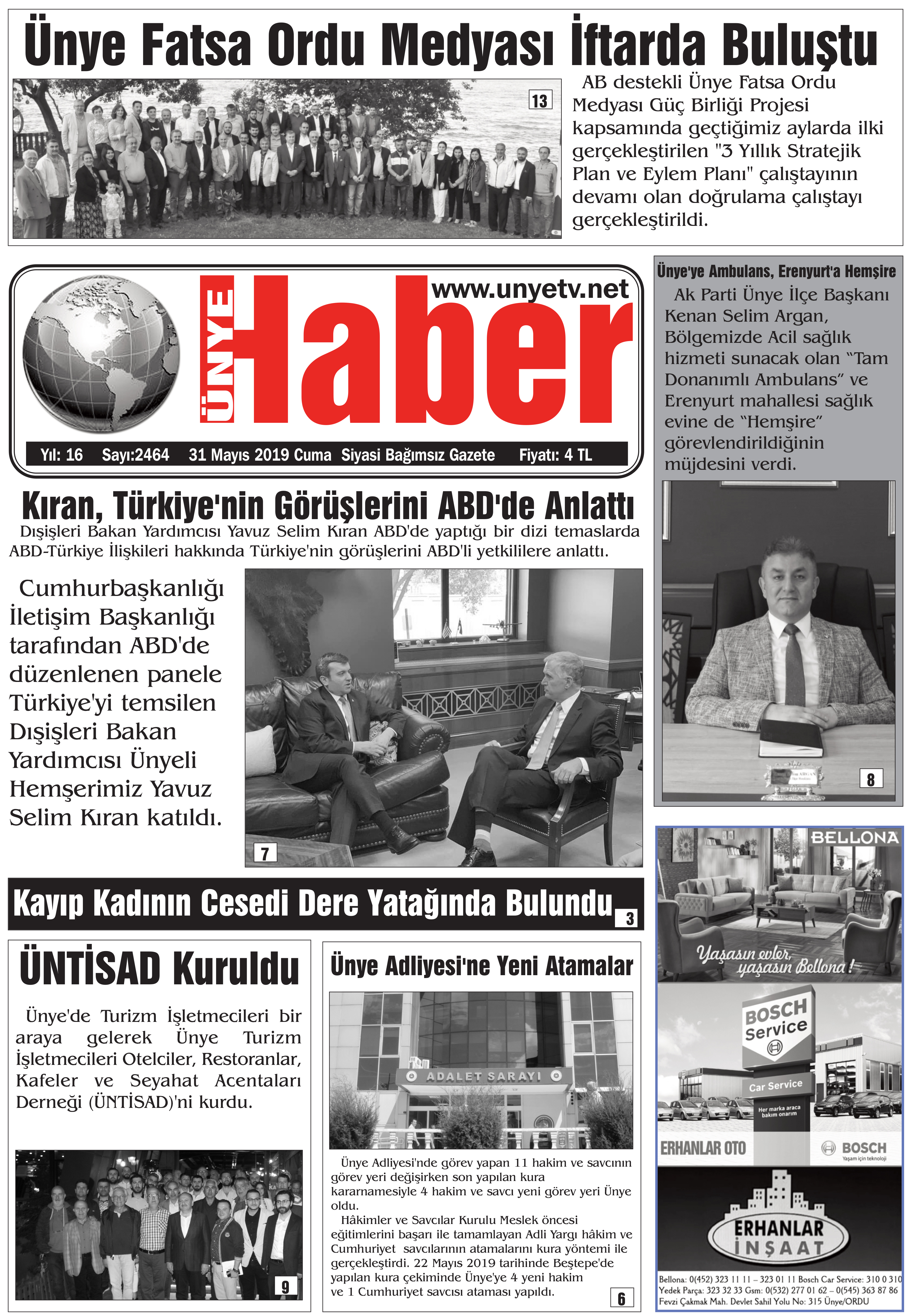 31 Mayıs 2019 Ünye Haber Gazetesi 1. Sayfası