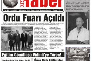 28.06.2019 Ünye Haber Gazetesi 1. Sayfası