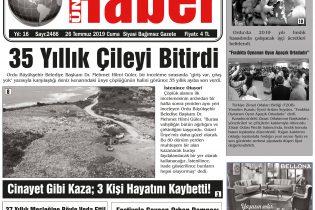 26 Temmuz 2019 Ünye Haber Gazetesi 1. Sayfası