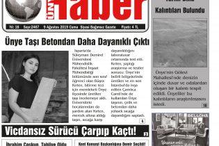9 Ağustos 2019 Ünye Haber Gazetesi 1. Sayfası
