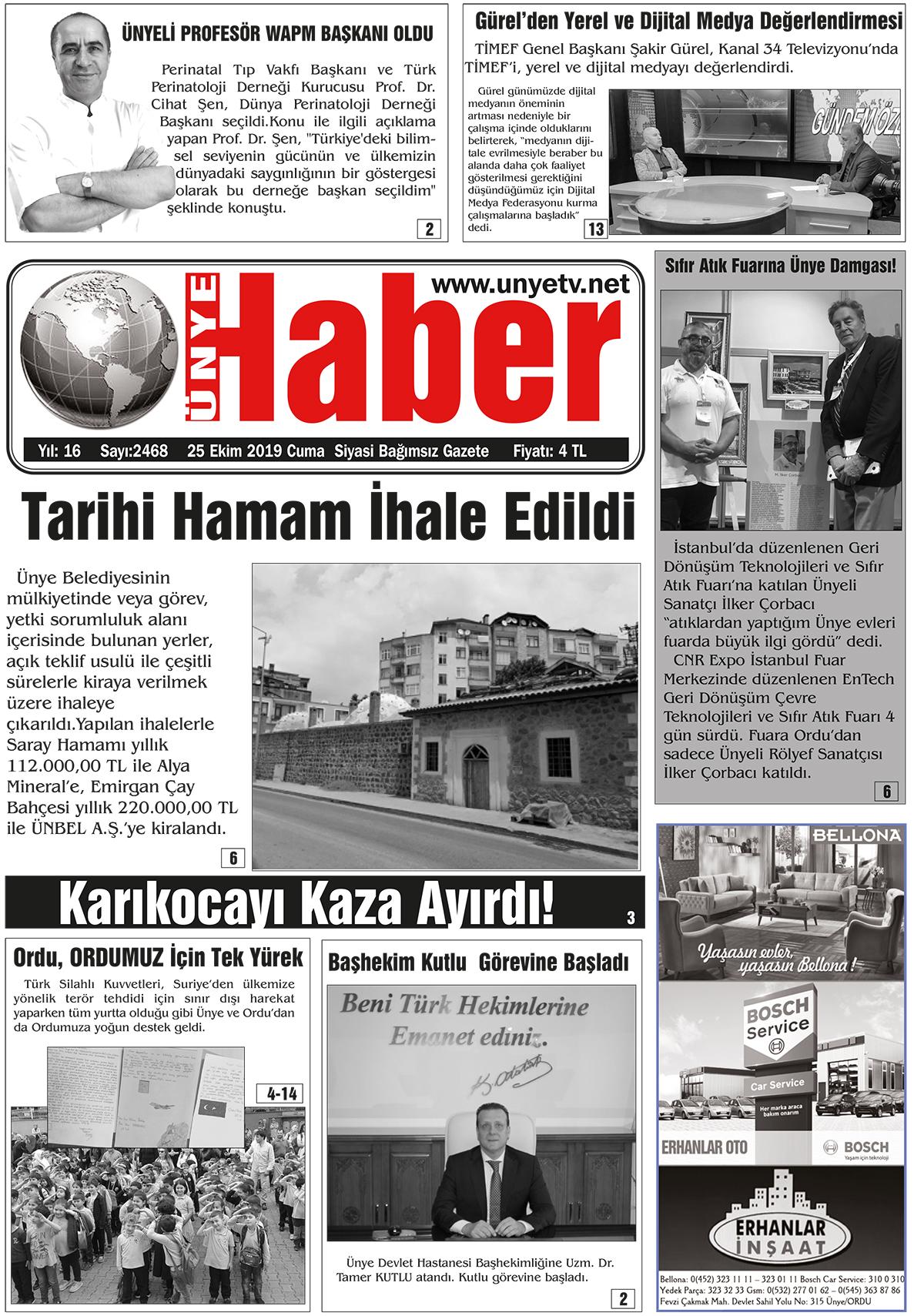 25.10.2019 Ünye Haber Gazetesi 1. Sayfası
