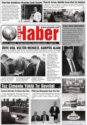 29.11.2019 Ünye Haber Gazetesi 1. Sayfası