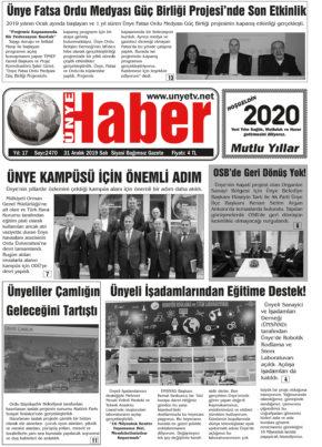 31.12.2019 Ünye Haber Gazetesi 1. Sayfası