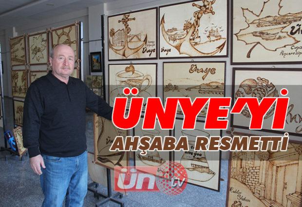 Emekli Öğretmen Ünye'yi Ahşaba Resmetti